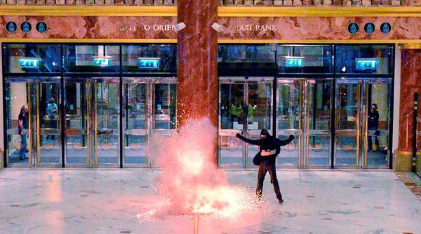 A person playing the role of suicide bomber detonates an explosive during an exercise at the Intu Trafford Centre in Trafford, Manchester Credit: Sean Hansford / Manchester Evening News / Pool /PA Wire