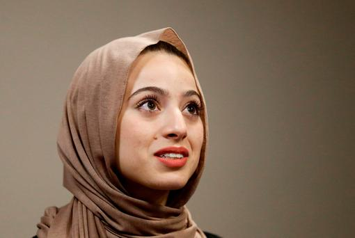 Bayan Zehlif, 17, speaks during a news conference on Monday (AP Photo/Chris Carlson)