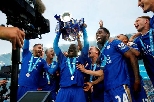 Kante lifts the Premier League trophy