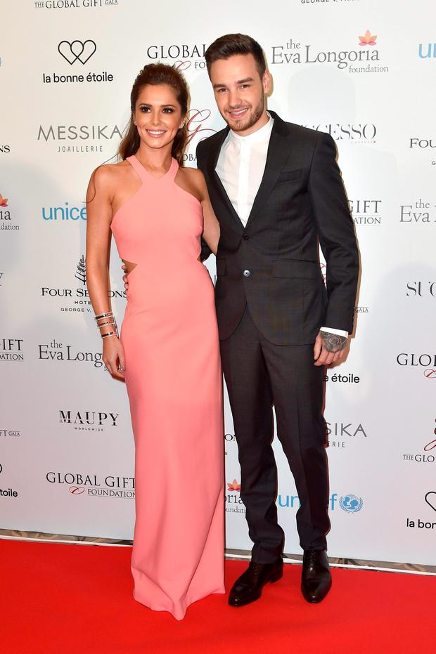 (L-R) Cheryl Fernandez-Versini and Liam Payne attend the Global Gift Gala Photocall at the Hotel Georges V on May 09, 2016 in Paris, France. (Photo by Kristy Sparow/Getty Images)