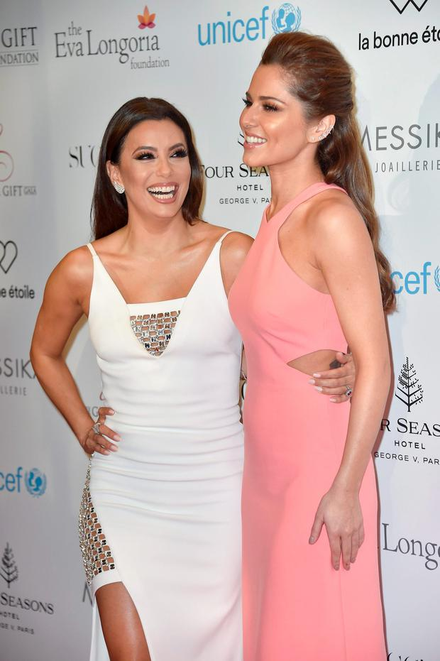 (L-R) Eva Longoria and Cheryl Fernandez-Versini attend the Global Gift Gala Photocall at the Hotel Georges V on May 09, 2016 in Paris, . (Photo by Kristy Sparow/Getty Images)