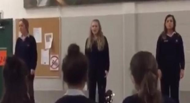 These three girls blew their classmates away with their own version of 'Tell Me It's Not True' from the musical Blood Brothers. Rachael Walsh Murphy/Facebook