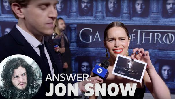 Emilia Clarke takes part in Game of Butts. Photo: Popsugar / YouTube
