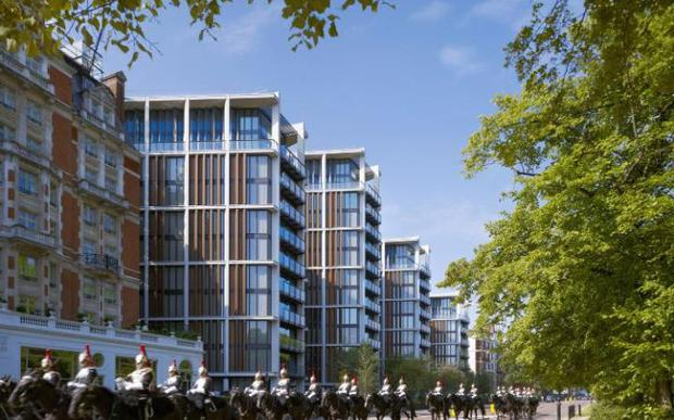 One Hyde Park which is over the road from Hyde Park Gardens but does not have a private garden square