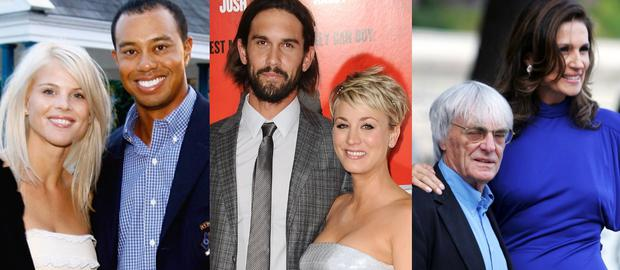(L to R) Elin Nordegren and Tiger Woods; Ryan Sweeting and Kaley Cuoco; Bernie and Slavica Ecclestone