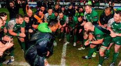 Connacht's Bundee Aki leads the celebrations with his teammates following their victory over Glasgow Warriors. Guinness PRO12, Round 22, Connacht v Glasgow Warriors. Sportsground, Galway. Picture credit: Seb Daly / SPORTSFILE