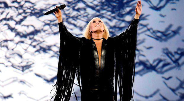 """Iceland's Greta Salome rehearses the song """"Hear Them Calling"""" during the jury show at the Ericsson Globe Arena in Stockholm, Sweden May 9, 2016"""