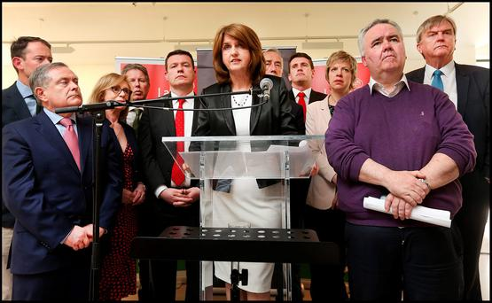 Joan Burton speaks to media at RHA Gallery after she announced her resignation as party leader (Photo: Steve Humphreys)