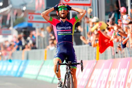 Diego Ulissi celebrates his stage win. LUK BENIES/AFP/Getty Images