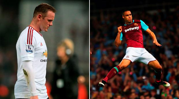 A dejected Wayne Rooney and a delighted Winston Reid