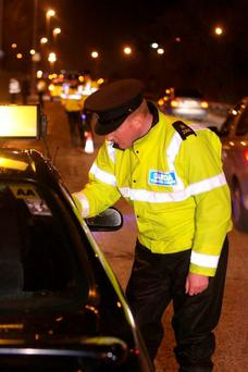 A garda speaks to a motorist at a traffic checkpoint (Stock photo)