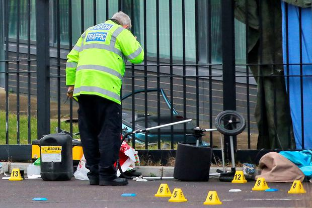 The wrecked pram at the scene Photo: Collins Courts