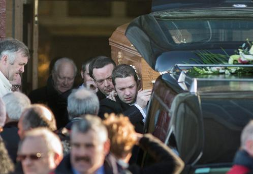 The coffin of Olivia Dunne is carried from the church to the hearse at her funeral in Balbriggan (Photo: Mark Condren)