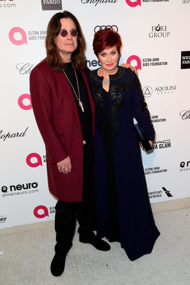 Musician Ozzy Osbourne (L) and tv personality Sharon Osbourne attend the 23rd Annual Elton John AIDS Foundation's Oscar Viewing Party on February 22, 2015 in West Hollywood, California. (Photo by Frederick M. Brown/Getty Images)