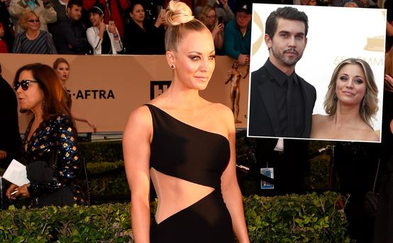 Kaley Cuoco at the SAG Awards and (inset) with ex-husband Ryan Sweeting