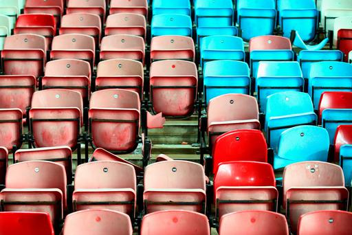 Partially removed seating is seen after the Barclays Premier League match between West Ham United and Manchester United at the Boleyn Ground