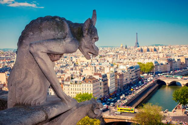 Chimera on Notre Dame Cathedral, overlooking Paris.