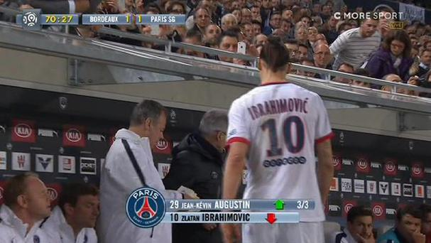Zlatan Ibrahimovic left the field in some discomfort