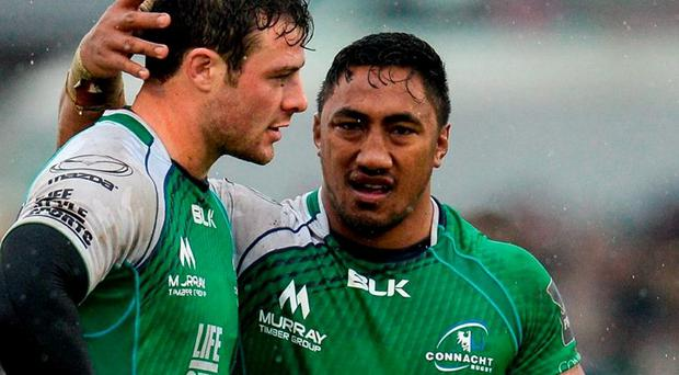 It seems pre-ordained that Bundee Aki (right) will join his current Connacht team-mate Robbie Henshaw in the Ireland international set-up. Photo: Seb Daly / Sportsfile