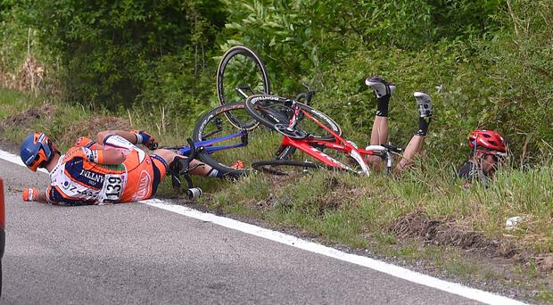 Gianfranco Zilioli, Albert Timmer and Jack Bobridge crash during yesterday's fifth stage of the Giro d'Italia. Photo: Tim de Waele/Corbis via Getty Images