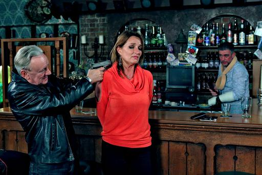 Actors Don Baker, Aisling O'Neill and Karl Shiels in a scene from RTÉ soap opera 'Fair City'