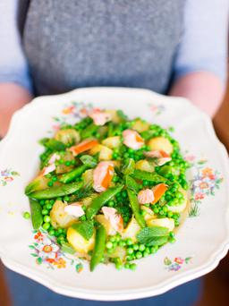 Pea and mint potato salad. Photo: Mark Duggan