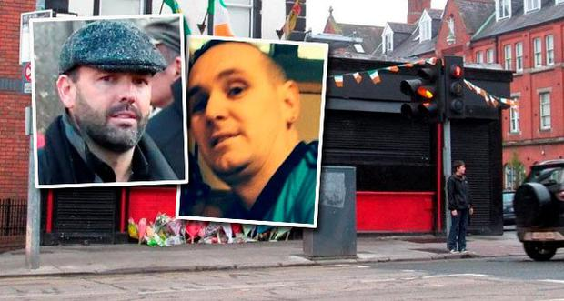 The blacked-out Sunset House where Michael Barr (inset right) was murdered. Inset left: Cartel boss Daniel Kinahan at the funeral of David Byrne