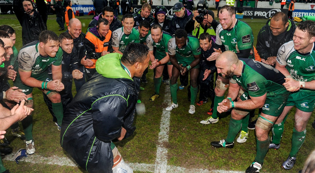 Bundee Aki leads the Connacht celebrations with his teammates following their PRO12 victory over Glasgow Warriors on Saturday. Photo: Seb Daly/Sportsfile