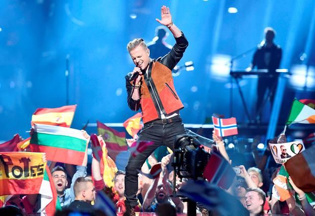 Nicky Byrne on stage at the Eurovision Song Contest in Stockholm (AP)