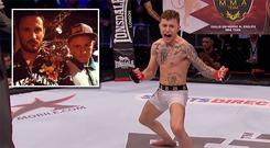James Gallagher fighting at BAMMA, (inset) with Coach John Kavanagh