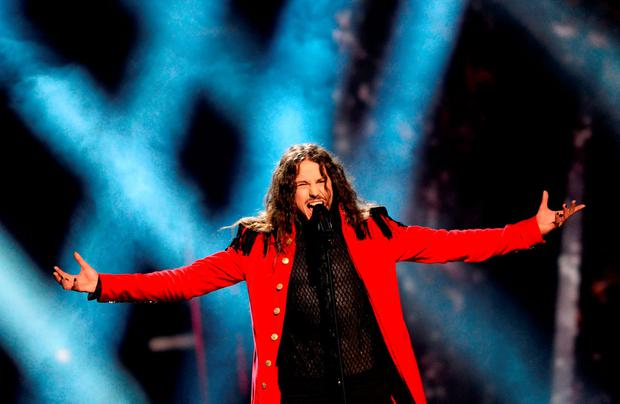 Michal Szpak representing Poland performs the song 'Colour Of Your Life' during the 2nd semi-final of the Eurovision Song Contest 2016 in Stockholm, Sweden, on May 12, 2016. / AFP PHOTO / JONATHAN NACKSTRANDJONATHAN NACKSTRAND/AFP/Getty Images