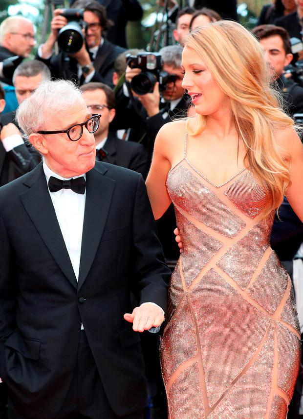 US director Woody Allen (L) arrives on May 11, 2016 with US actress Blake Lively for the screening of the film