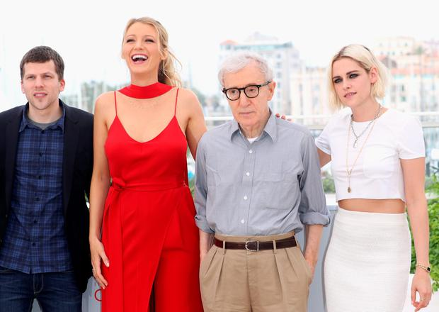 (L-R) Jesse Eisenberg, Blake Lively, director Woody Allen and Kristen Stewart attend the