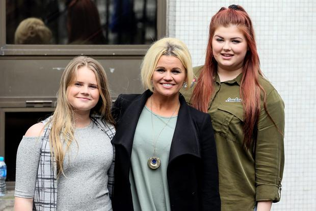 Singer Kerry Katona is pictured leaving the ITV studios with her daughters Molly and Lilly-Sue after co-presenting Loose Women. Picture: Simon Earl / Splash News