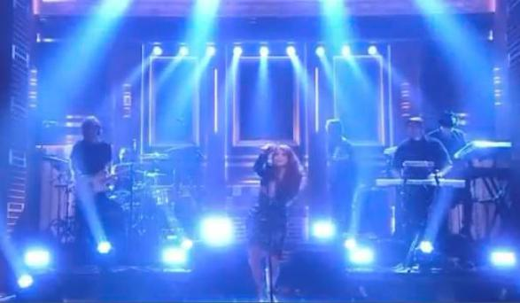 Meghan Trainor takes a tumble on Jimmy Fallon