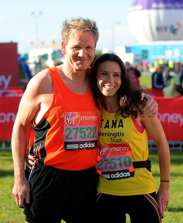 Gordon Ramsay and his wife Tana Ramsay pose for the camera during the Virgin London Marathon 2012 on April 22, 2012 in London, England. (Photo by Christopher Lee/Getty Images)