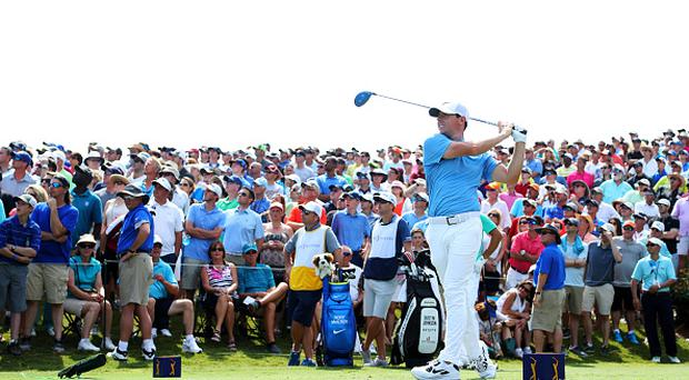 PONTE VEDRA BEACH, FL - MAY 13: Rory McIlroy of Northern Ireland plays his shot from the 18th tee during the second round of THE PLAYERS Championship at the TPC Stadium course on May 13, 2016 in Ponte Vedra Beach, Florida. (Photo by Richard Heathcote/Getty Images)