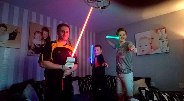 Jamie presented Caolan and his father, Paul with the custom Lightsabers from Saberforge which were bought and tailored to suit both Caolan and his little brother Ciaran