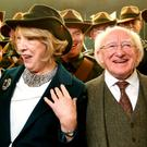 President Michael D Higgins and wife Sabina in Liberty Hall following the State ceremony for James Connolly. Photo: Gerry Mooney
