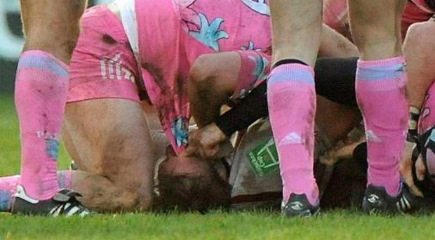 Stade Francais pair David Attoub and Julien Dupuy were banned for 70 and 23 weeks respectively after this incident in which Ulster flanker Stephen Ferris got his eye poked during a Heineken Cup game in 2010 (SPORTSFILE)