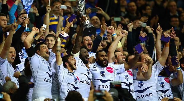 LYON, FRANCE - MAY 13: Captain Fulgence Ouedraogo of Montpellier lifts the trophy following his team's 26-19 victory during the European Rugby Challenge Cup Final match between Harlequins and Montpellier at the Grand Stade de Lyon on May 13, 2016 in Lyon, France. (Photo by Michael Steele/Getty Images)