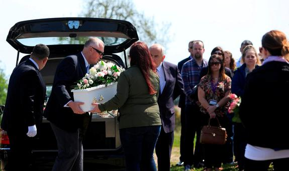 The remains of baby Alannah arrive at Redford Cemetery, Greystones, Co Wicklow, yesterday. Photo: Gareth Chaney Collins