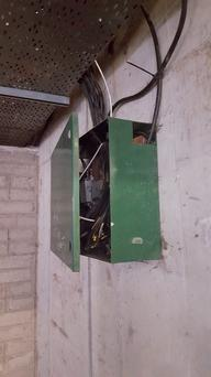 Exposed wires in the €830 per month apartment block