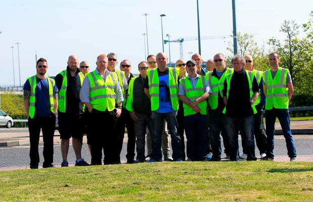 Luas drivers on strike at Red Cow station Photo: Gareth Chaney/Collins