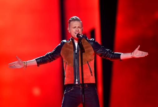 Nicky Byrne in action in Stockholm. (AP Photo/Martin Meissner)