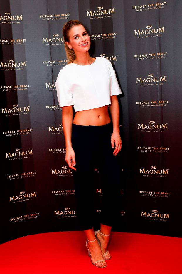 Vogue Williams at the launch of Magnum Dublin in the window of Arnotts. Picture: Conor McCabe