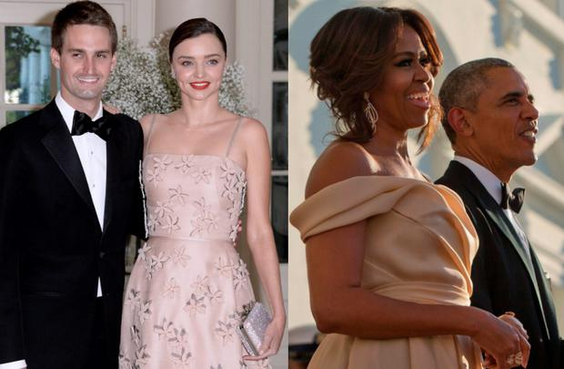 Miranda Kerr and Evan Spiegel (left) and Michelle and Barack Obama (right)
