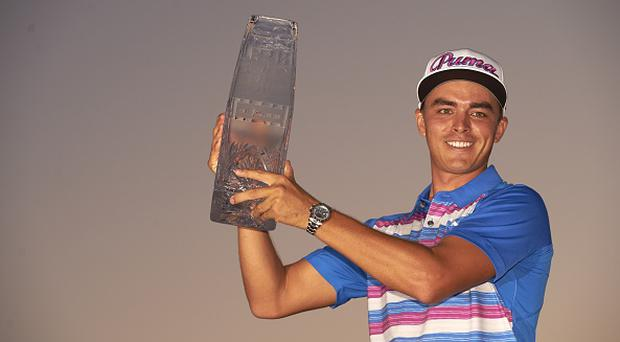 Golf: The Players Championship: Rickie Fowler victorious, posing with trophy after winning playoff and tournament on Sunday at Stadium Course of TPC Sawgrass. Ponte Vedra Beach, FL 5/10/2015 CREDIT: Carlos M. Saavedra (Photo by Carlos M. Saavedra /Sports Illustrated/Getty Images) (Set Number: X159569 TK6 )