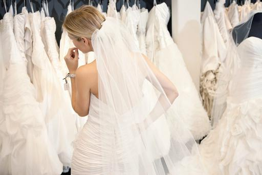 Woman wedding dress shopping