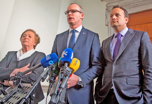 Fine Gael's Leo Varadkar, Simon Coveney and Frances Fitzgerald Photo: Arthur Carron